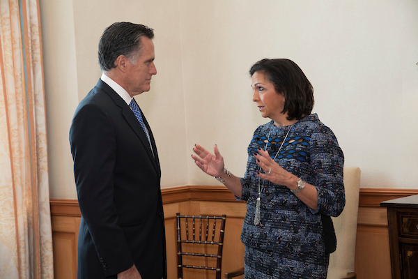 Mitt Romney and Lisa Rickard at ILR's Legal Reform Summit