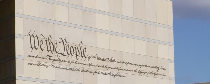 """We the people"" on the side of the National Constitution Center."